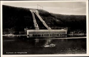 Ak Hengstey Hagen in Westfalen, Uferpartie, Kraftwerk am Hengsteysee, Blick auf Sauerländer Berge