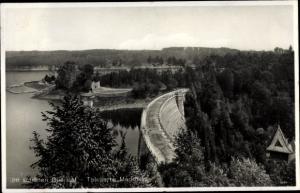 Ak Leśna Marklissa Schlesien, Queis Talsperre, Panorama, Staumauer