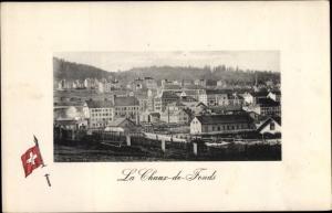 Ak La Chaux de Fonds Kanton Neuenburg, Stadtansicht, Fahne
