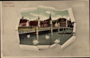 Passepartout Ak Luzern Stadt Schweiz, Neue Brücke, Schwäne