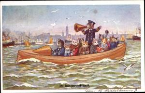 Künstler Ak Katzen, Boot, De havenrondvaartt