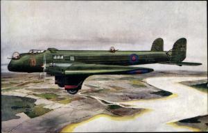 Künstler Ak Fairey Hendon Long Range Night Bomber