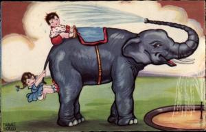 Künstler Ak Boriss, Margret, Kinder mit Wasser bespritzt, Elefant