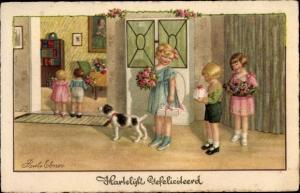 Künstler Ak Ebner, Pauli, Glückwunsch Geburtstag, Kinder, Blumen, Geschenke, Hund