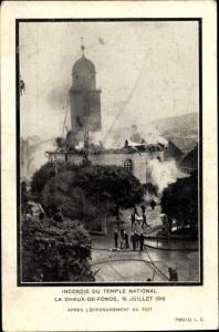 Ak La Chaux de Fonds Kanton Neuenburg, Incendie du Temple National, Feuerwehr