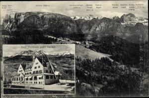 Ak Bozen Bolzano Südtirol, Hotel Oberbozen gegen Latemar, Dolomiten Panorama