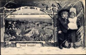 Passepartout Ak Stade in Niedersachsen, Glückwunsch Neujahr, Panorama vom Ort, Kinder, Handwärmer