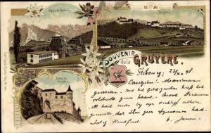 Litho Gruyères Kanton Freiburg Schweiz, Bains de Montbarry, Entrée