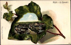 Präge Efeublatt Litho Rüti Kanton Zürich, Panorama