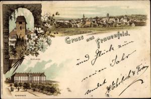 Litho Frauenfeld Kanton Thurgau, Schloss, Kaserne, Panorama