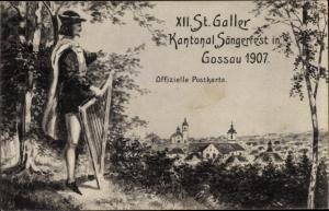Ak Gossau Kanton Sankt Gallen, XII. St. Galler Kantonal Sängerfest 1907