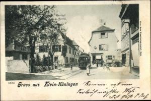 Ak Kleinhüningen Bâle Basel Stadt Schweiz, Gasthof zur Krone, Straßenbahn