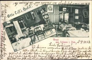 Ak Sławno Schlawe Pommern, Otto List's Hotel, der runde Tisch