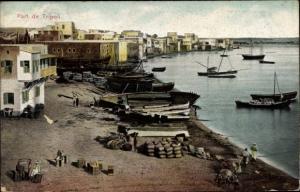 Ak Tripoli Libanon, Ortspartie mit Hafen