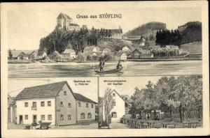 Ak Stöfling Timelkam in Oberösterreich, Panorama vom Ort, Gasthaus L. Fahrner, Wirtschaftsgarten