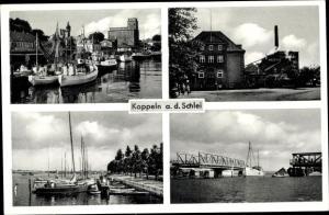 Ak Kappeln an der Schlei, Hafen, Nestle Werk, geöffnete Zugbrücke