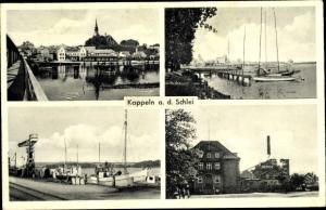 Ak Kappeln an der Schlei, Hafen, Nestle Werk, Panorama vom Ort