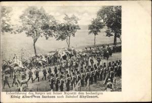 Ak Szczodre Sibyllenort Schlesien, Überführung des Sarges von König Albert von Sachsen zum Bahnhof