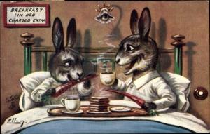Künstler Ak Breakfast in Bed, Vermenschlichte Hasen beim Frühstück, Tuck 9553