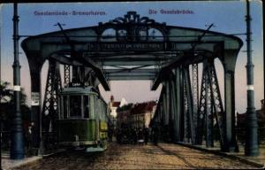 Ak Geestemünde Bremerhaven, Geestebrücke, Straßenbahn nach Lehe