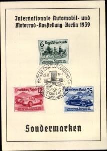 Briefmarken Ak Berlin, Int. Automobil und Motorrad Ausstellung 1939, Deutsche Bank, Sparkonten