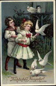 Künstler Ak Glückwunsch, Neujahr, Kinder, Tauben
