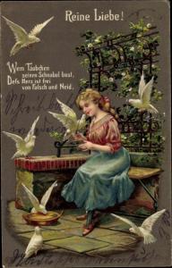 Präge Künstler Ak Frau, Tauben, Reine Liebe