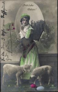 Ak Glückwunsch, Ostern, Schafe