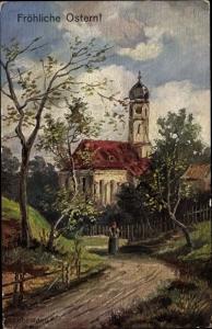 Künstler Ak Fuhrmann, Glückwunsch, Ostern, Turmuhrenfabrik Beyes Hildesheim
