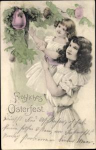 Künstler Ak Glückwunsch, Ostern, Mädchen