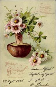 Präge Künstler Ak Glückwunsch, Geburtstag, Kleeblätter, Pilz
