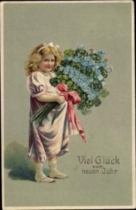 Präge Künstler Ak Glückwunsch, Neujahr, Mädchen, Blumen