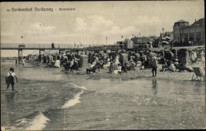 Ak Norderney in Ostfriesland, Strandleben an der Nordsee