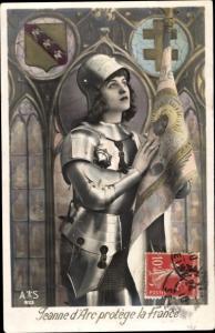 Ak Jeanne d'Arc protege la France
