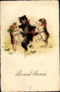 Künstler Ak Bonne Anne, Tanzende Hunde