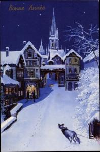Künstler Ak Bonne Anne, Winterpartie, Hund