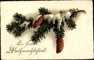 Ak Frohe Weihnachten, Tannenzweig, Tannenzapfen