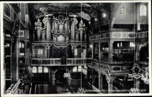 Ak Świdnica Schweidnitz Schlesien, Friedenskirche, Inneres, Orgel, Emporen