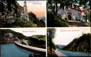 Ak Zagórze Śląskie Kynau Schlesien, Kynsburg, Außenansichten, Weistritztalsperre, Staumauer