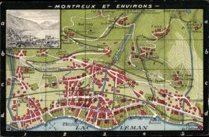 Stadtplan Ak Montreux Kanton Waadt, Lac Léman, Ile de Salagnon, Church, Territat, Glion