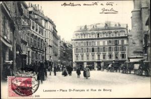 Ak Lausanne Kanton Waadt Schweiz, Place St Francois et Rue de Bourg