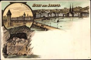 Litho Luzern Stadt Schweiz, Stadtansicht, Kappelbrücke, Löwe
