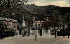 Ak Vitznau Kanton Luzern Schweiz, Bahnhof, Hotel Rigibahn