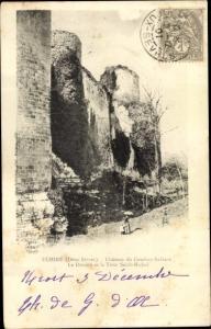 Ak Échiré Deux Sèvres, Chateau du Coudray Salbart, Le Donjon et la Tour Saint Michel