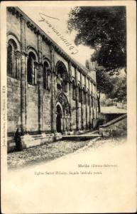 Ak Melle Deux Sèvres, Eglise Saint Hilaire, facade laterale nord