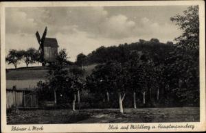 Ak Rhinow Havelland, Blick auf Mühlberg und Hauptmannsberg, Windmühle