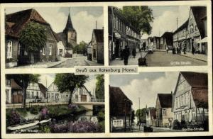 Ak Rotenburg an der Wümme, Große Straße, Kirchstraße, Goethe Straße, Am Wasser