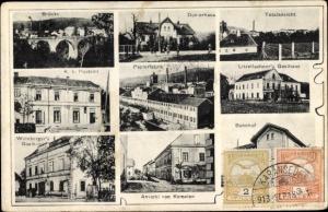 Ak Kematen in Tirol, Papierfabrik, Bahnhof, Totalansicht, Doktorhaus, Brücke, Postamt, Gasthaus
