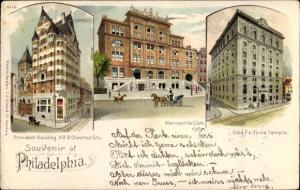 Litho Philadelphia Pennsylvania USA, Provident Building, Chestnut Street, Mercantile Club