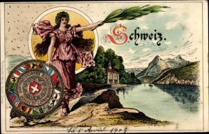Ak Schweiz allgemein, Wappen, Partie am See